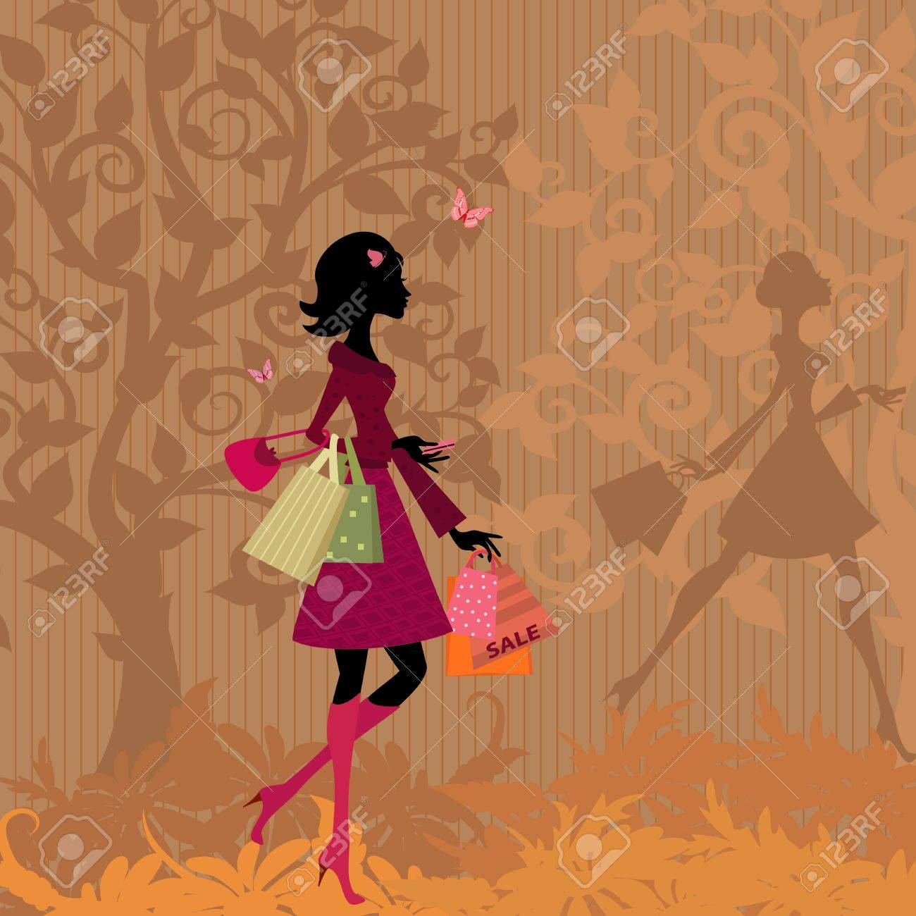girl with shopping in the park in autumn Stock Vector - 11040954