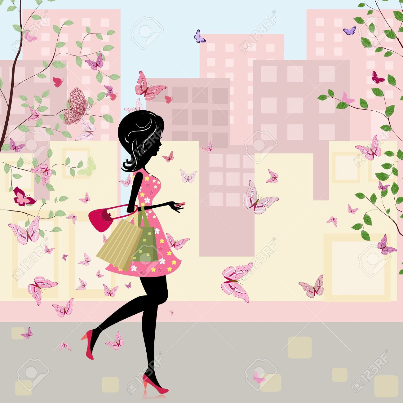 girl with shopping in the spring Stock Vector - 11040966