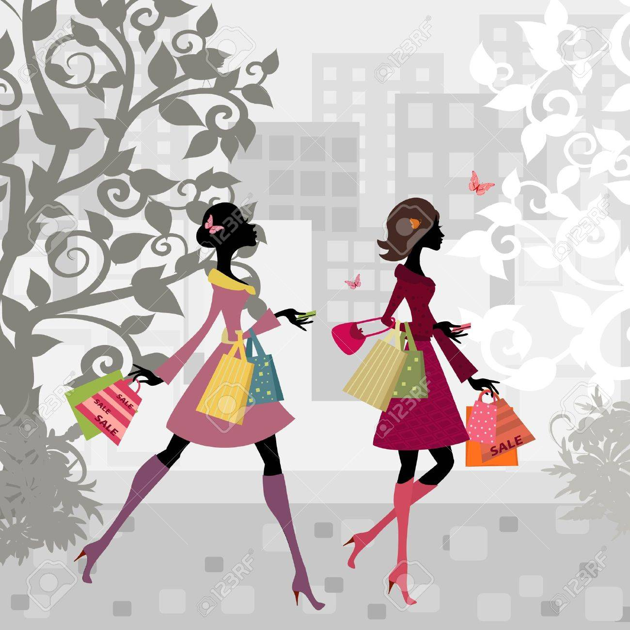 Girls walking around town with shopping Stock Vector - 11202157