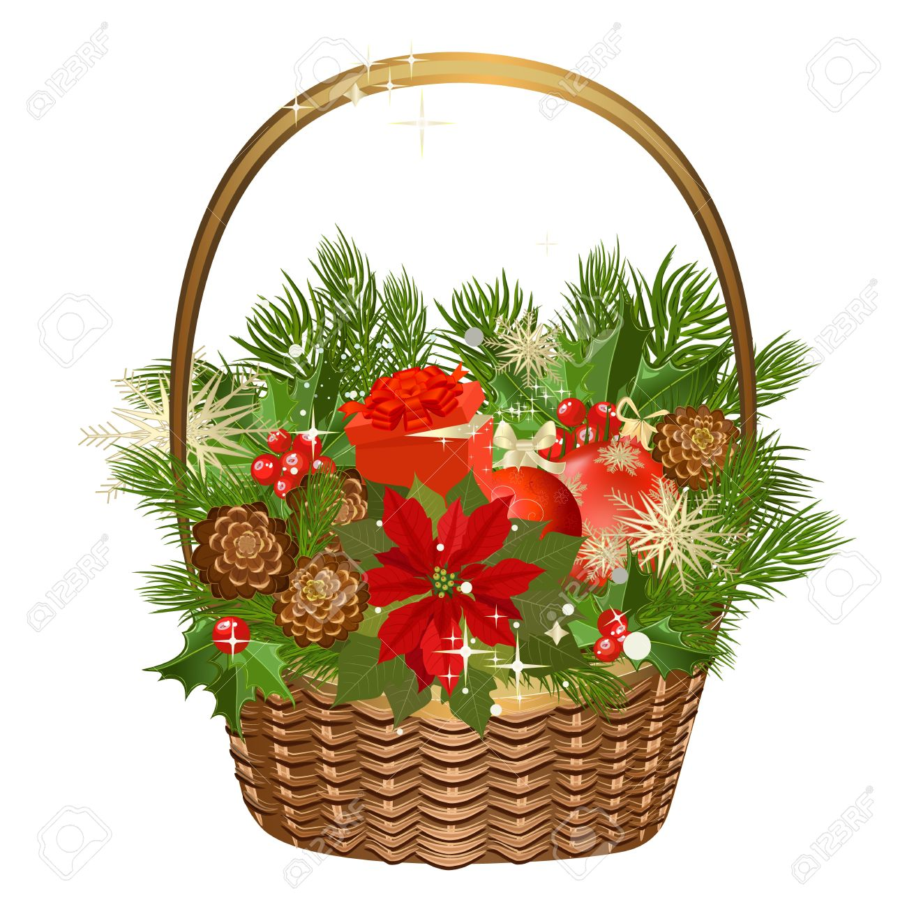 Gift basket with flowers and Christmas toys Stock Vector - 11419777