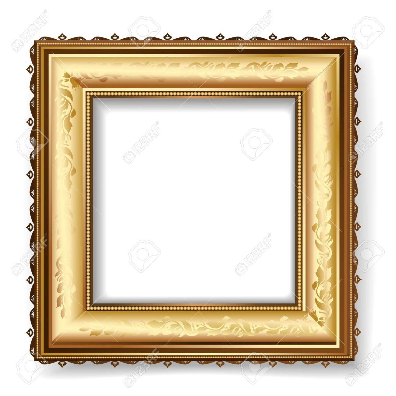 Retro Frame With Gold Leaf Royalty Free Cliparts, Vectors, And Stock ...
