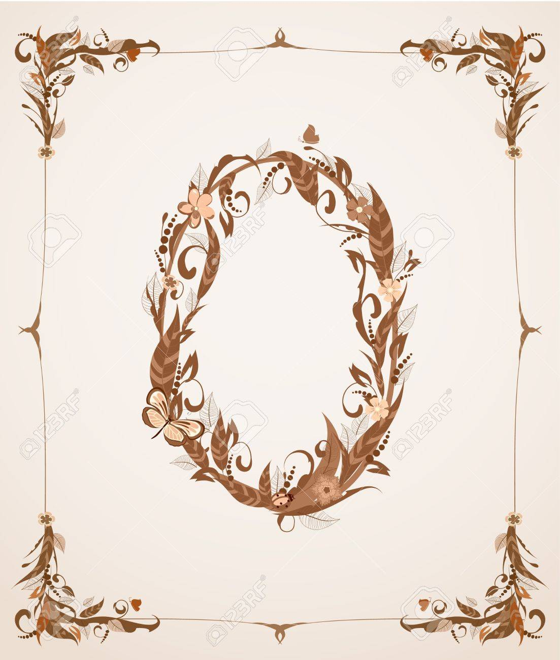 retro vintage letter number in a frame Stock Vector - 12344665