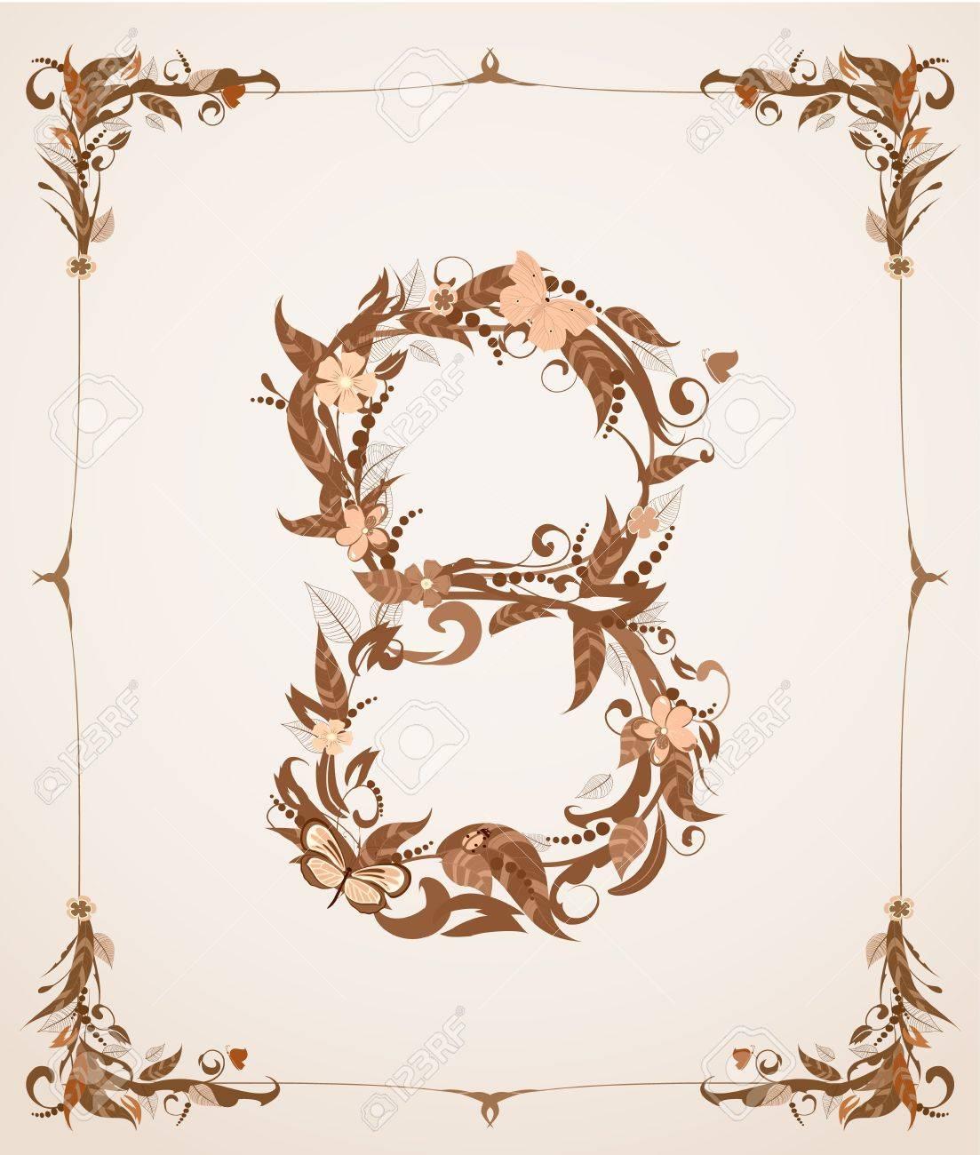 retro vintage letter number in a frame Stock Vector - 12344666