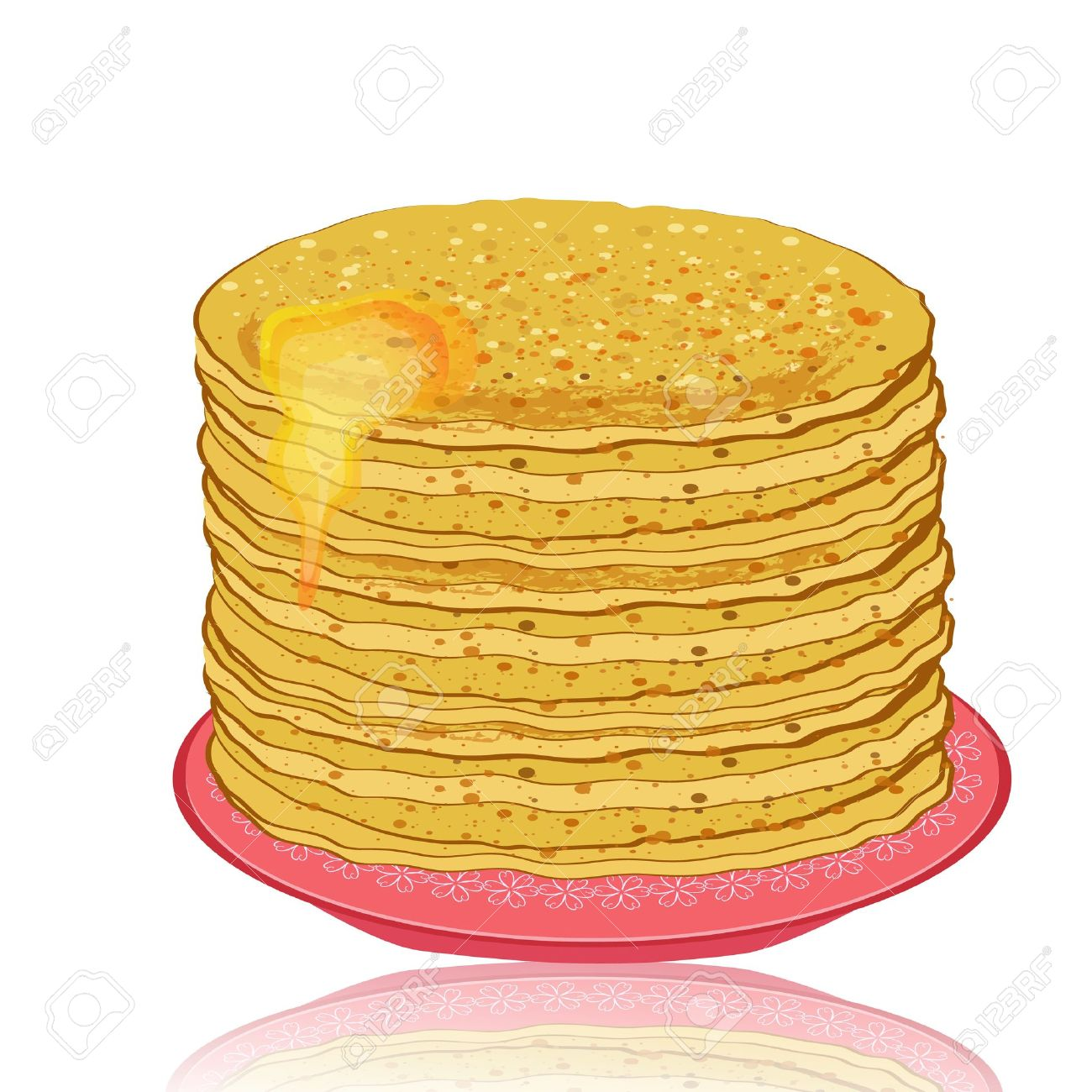 plate of pancakes and honey Stock Vector - 12344712