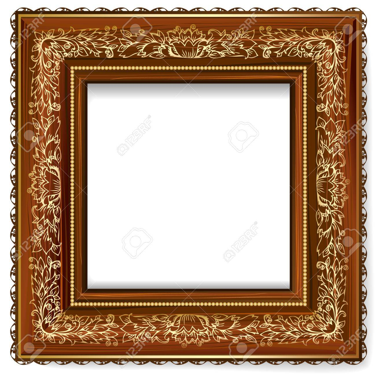Wooden Frame With A Retro Pattern With Gold Leaf Royalty Free ...