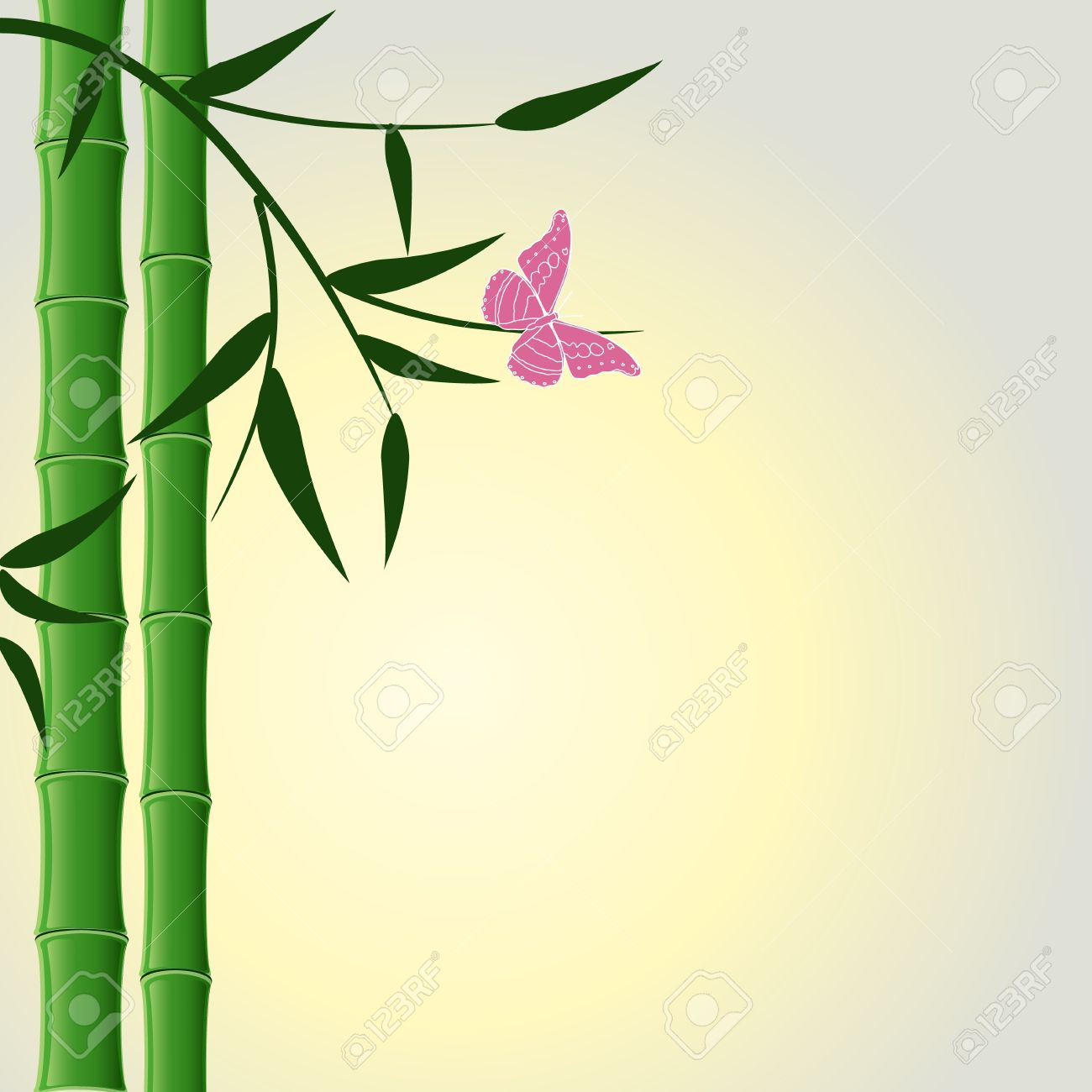 Bamboo Design Background With Butterfly