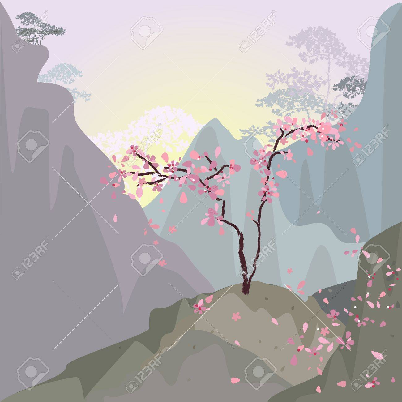 Mountain landscape in the morning with cherries Stock Vector - 13509751