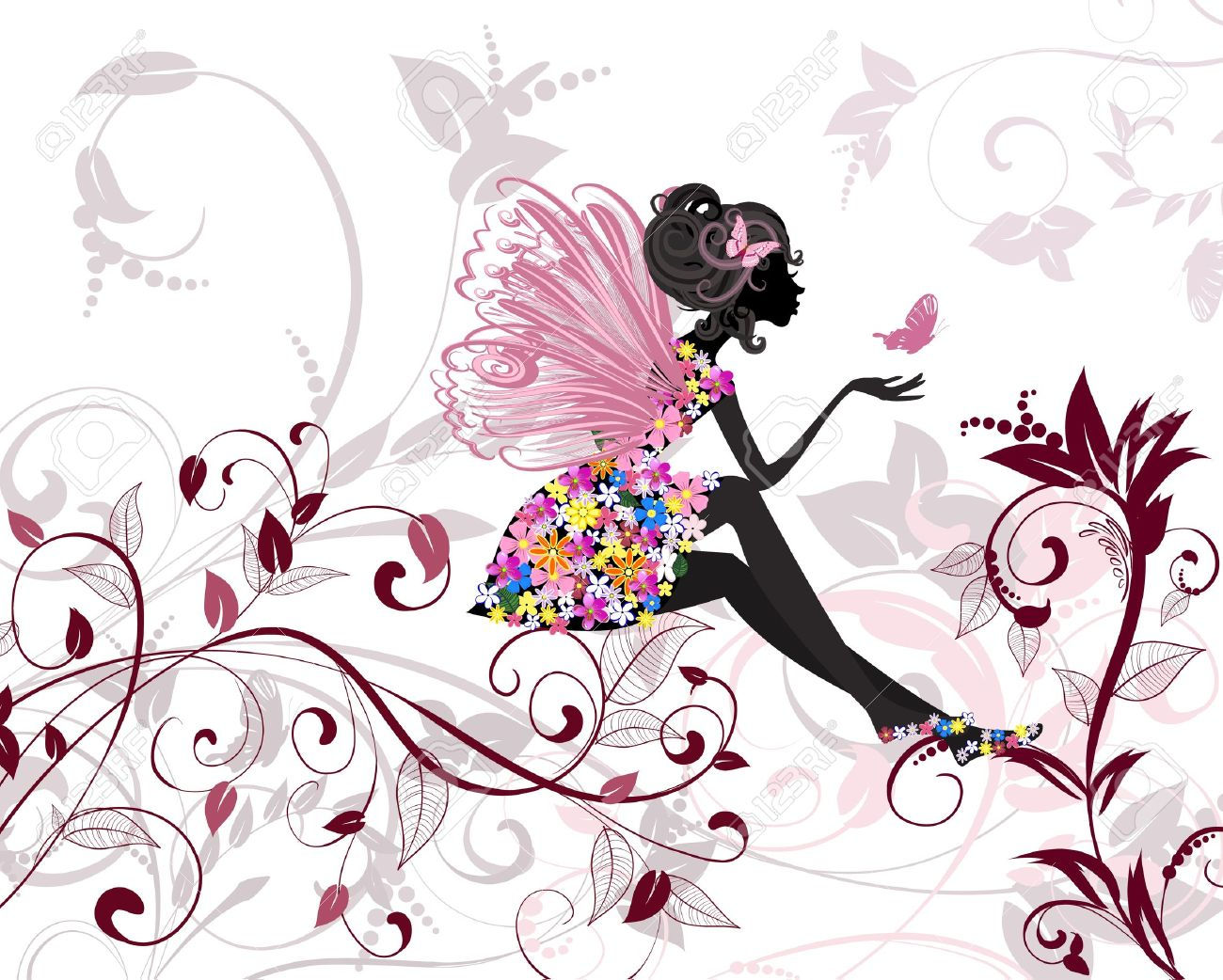 Flower Fairy with butterflies Stock Vector - 13572549