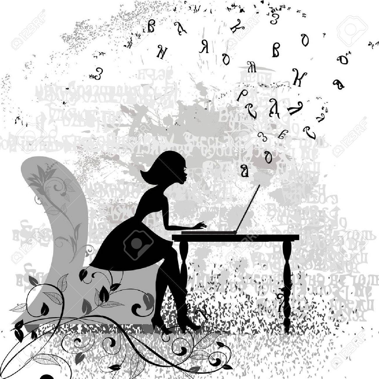 Girl at the computer Stock Vector - 13572554