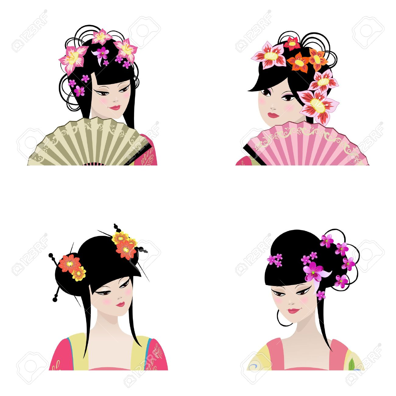 Portrait of a beautiful Chinese girls Stock Vector - 14173547