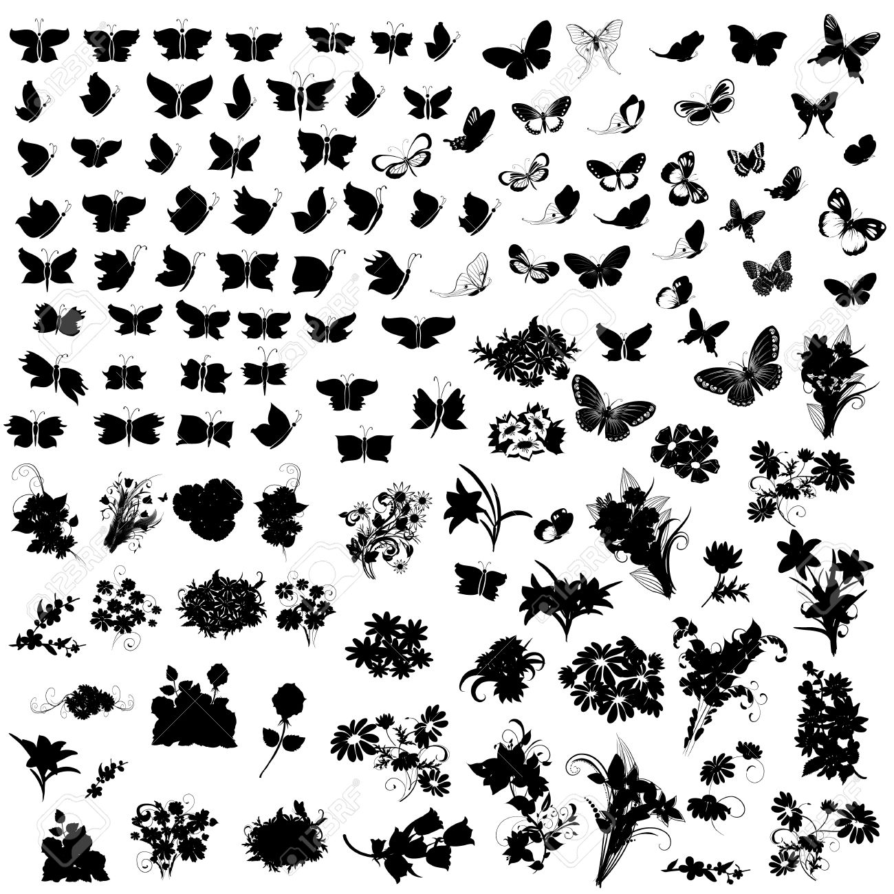 set of silhouettes butterfly and flowers Stock Vector - 14587163