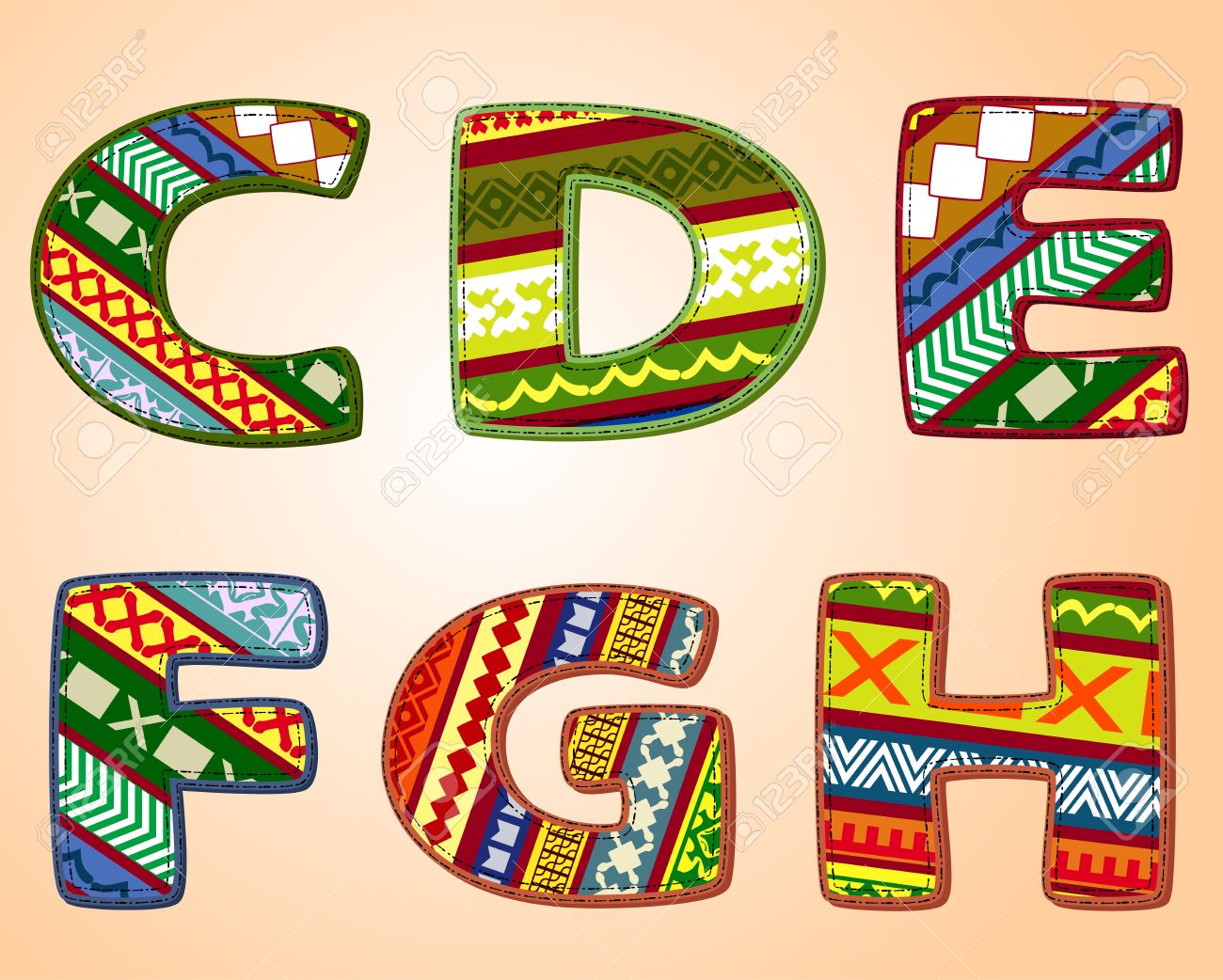 Letters of fabric designs royalty free cliparts vectors and stock letters of fabric designs altavistaventures Image collections