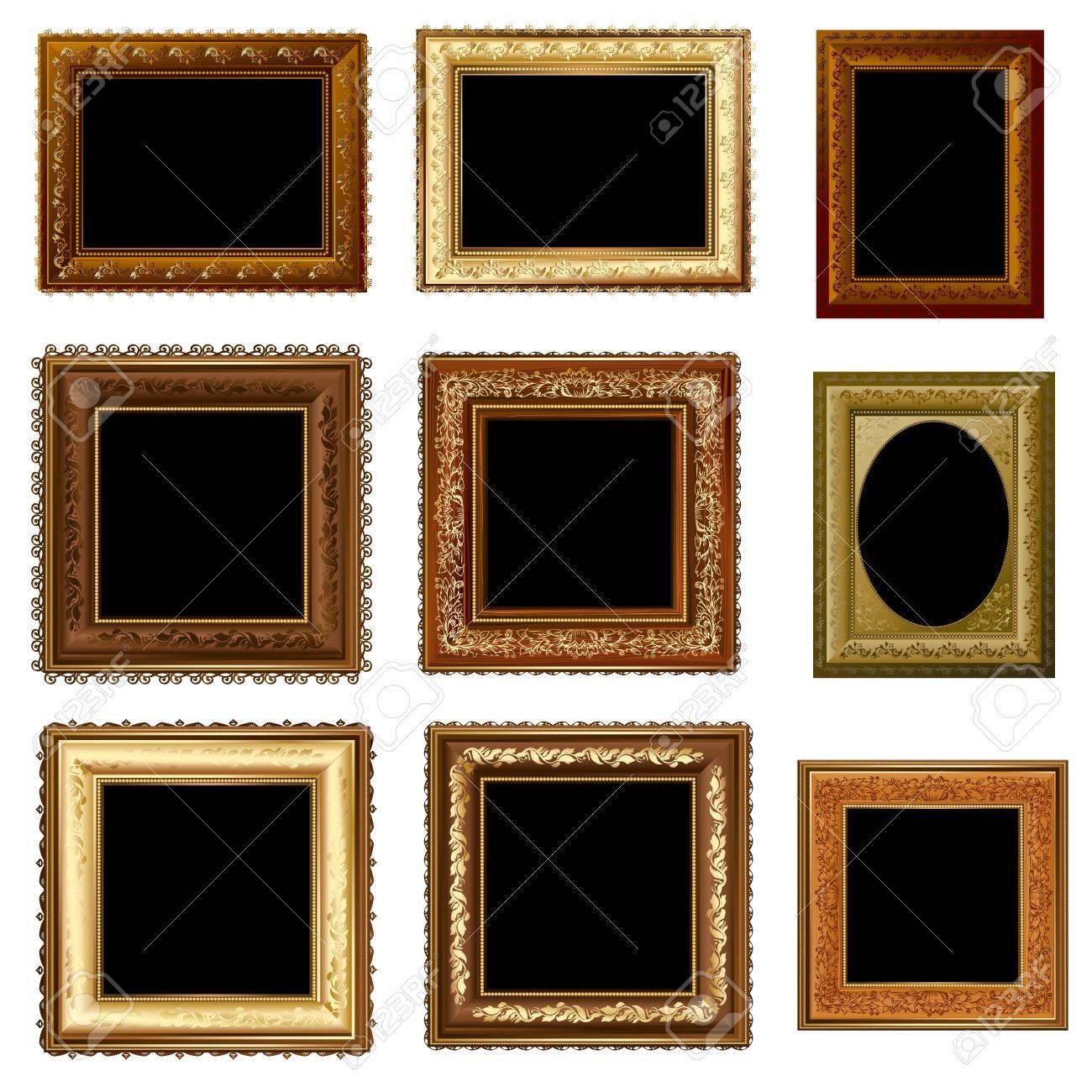 set of retro vintage frame gold Stock Vector - 14587195