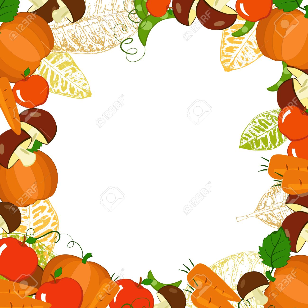 frame with autumn vegetables and leaves royalty free cliparts rh 123rf com Autumn Leaves Clip Art Pumpkin Border Clip Art