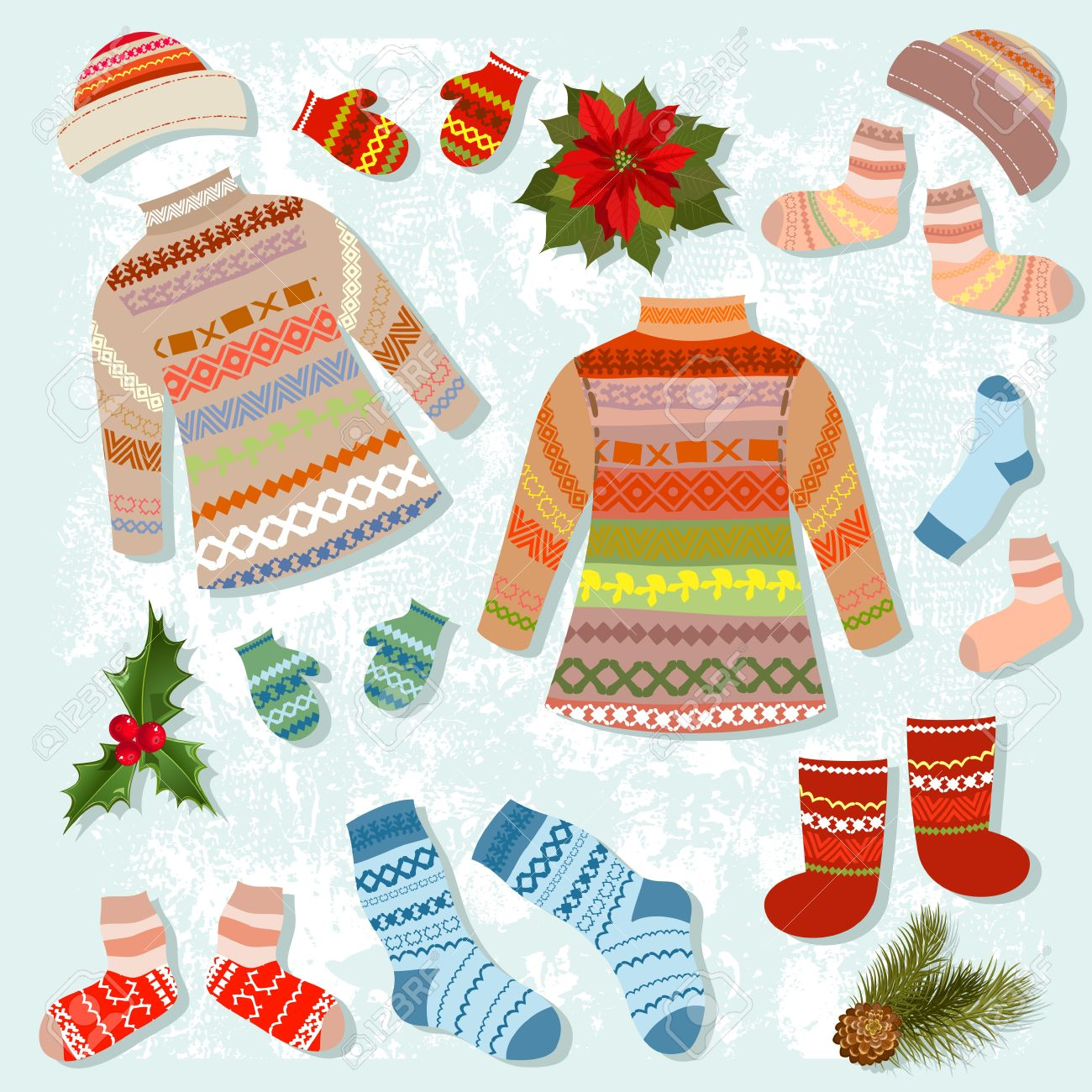 Set Of Warm Winter Clothing Royalty Free Cliparts, Vectors, And ...
