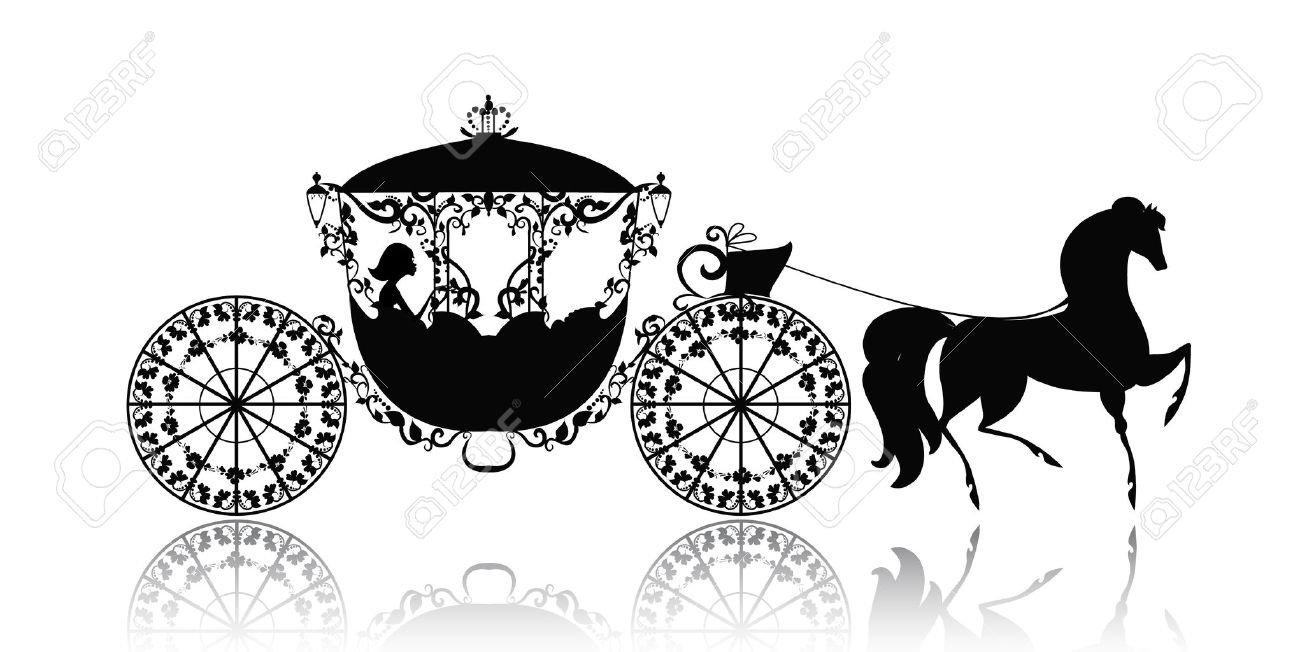 How To Draw The Solar System Step 3 Cinderella Carriage: Vintage Silhouette  Of A Horse