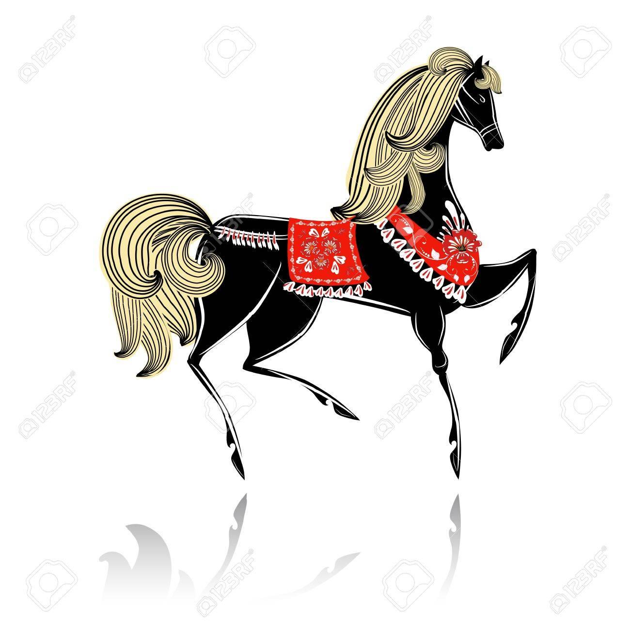 Decorative beautiful horse Khokhloma Stock Vector - 16188518