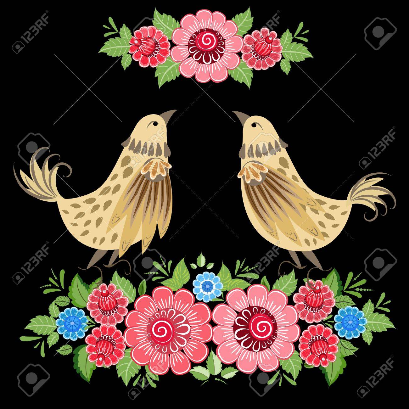Decorative bird in flowers Khokhloma Stock Vector - 16432874