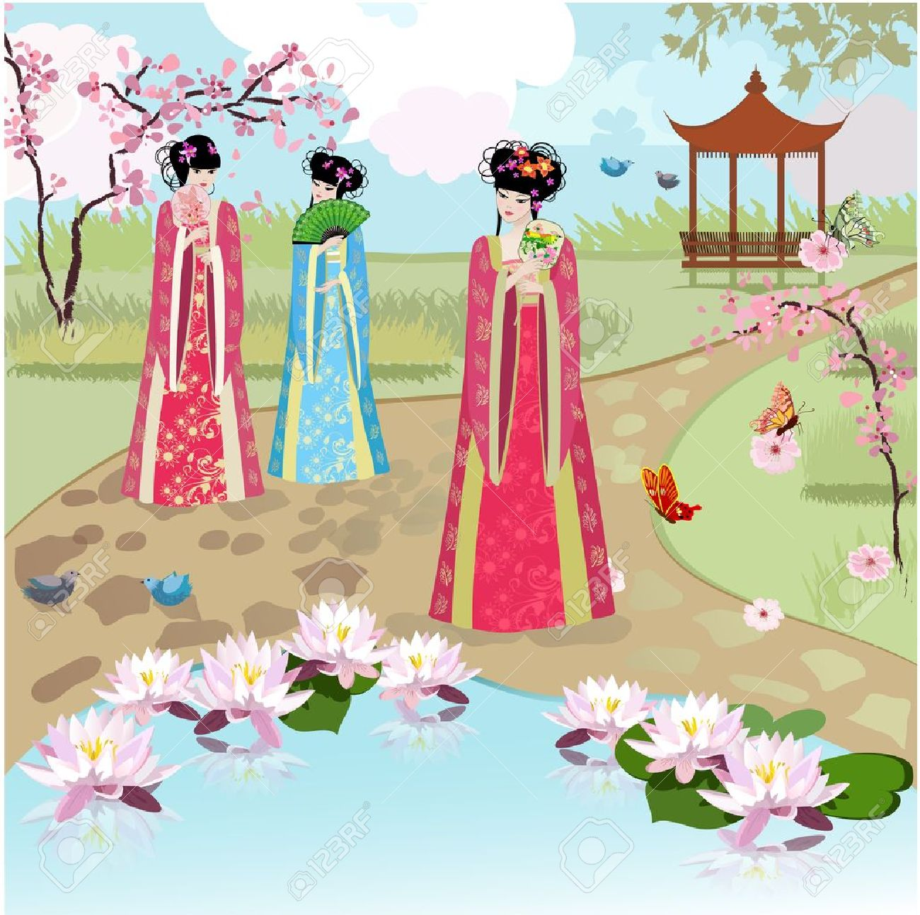 Chinese girls at the pond Stock Vector - 16787549