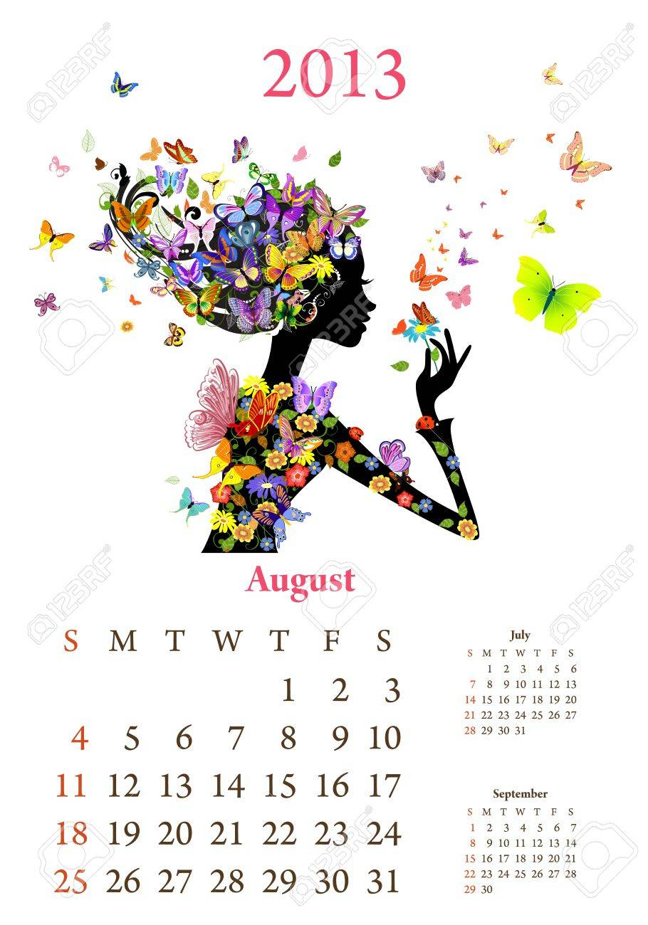 Fashion girls 2013 calendar year, august Stock Vector - 16787580