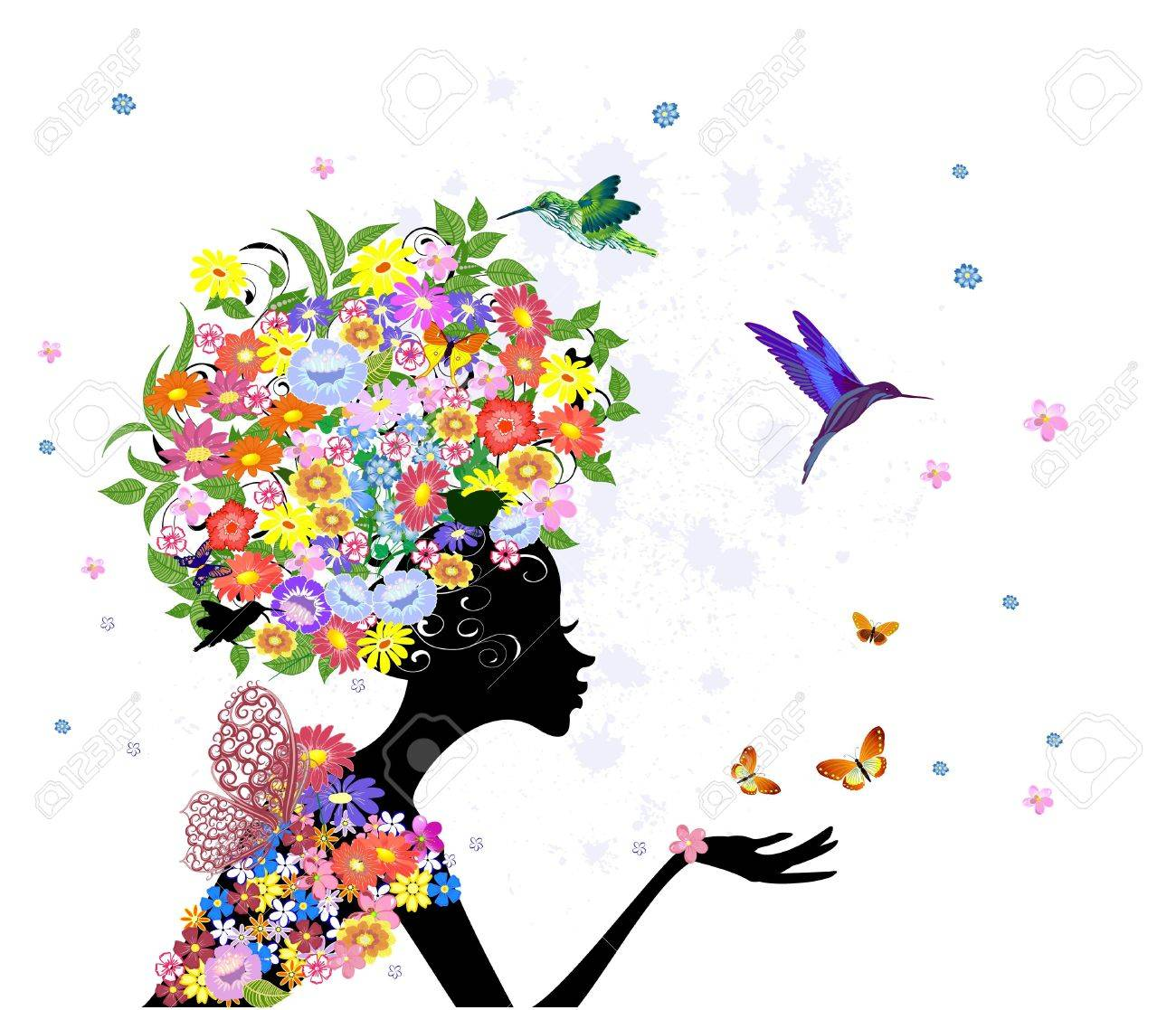 girl fashion flowers Stock Vector - 16787575