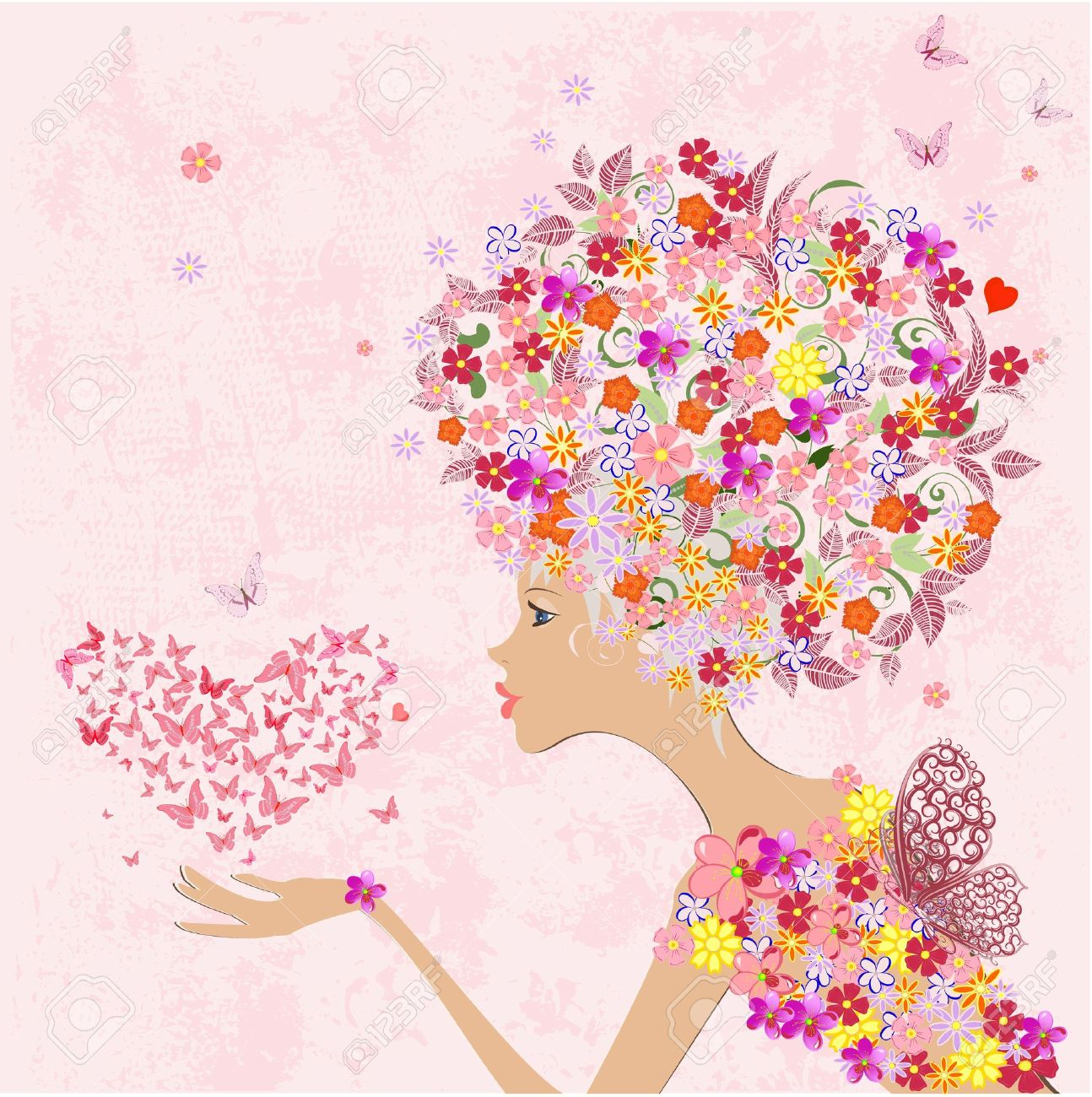 fashion flowers girl with a heart of butterflies Stock Vector - 16787686