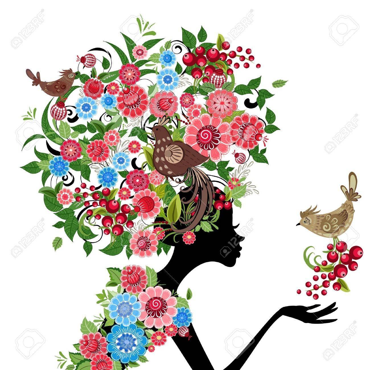 girl fashion flowers Stock Vector - 16787532