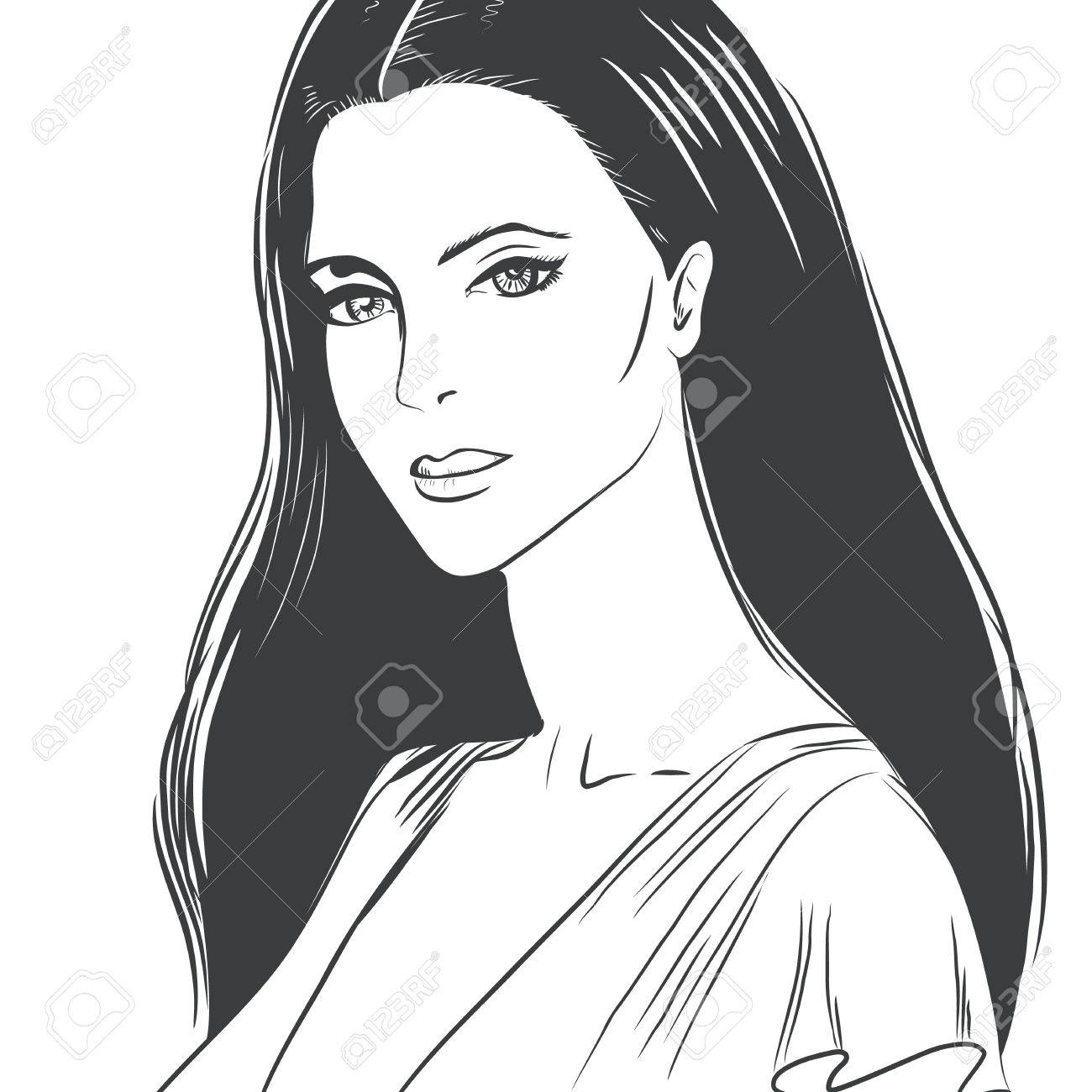 Portrait of a beautiful young woman Stock Vector - 17009651