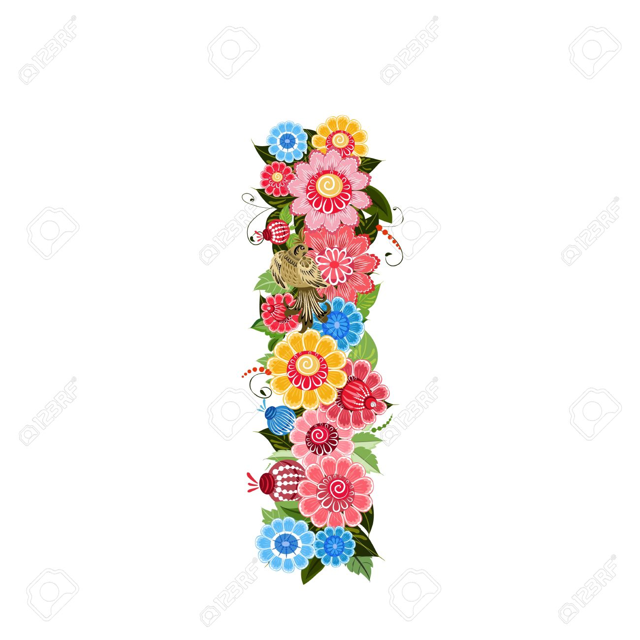 floral letter to the birds in the style khokhloma stock vector 17009659