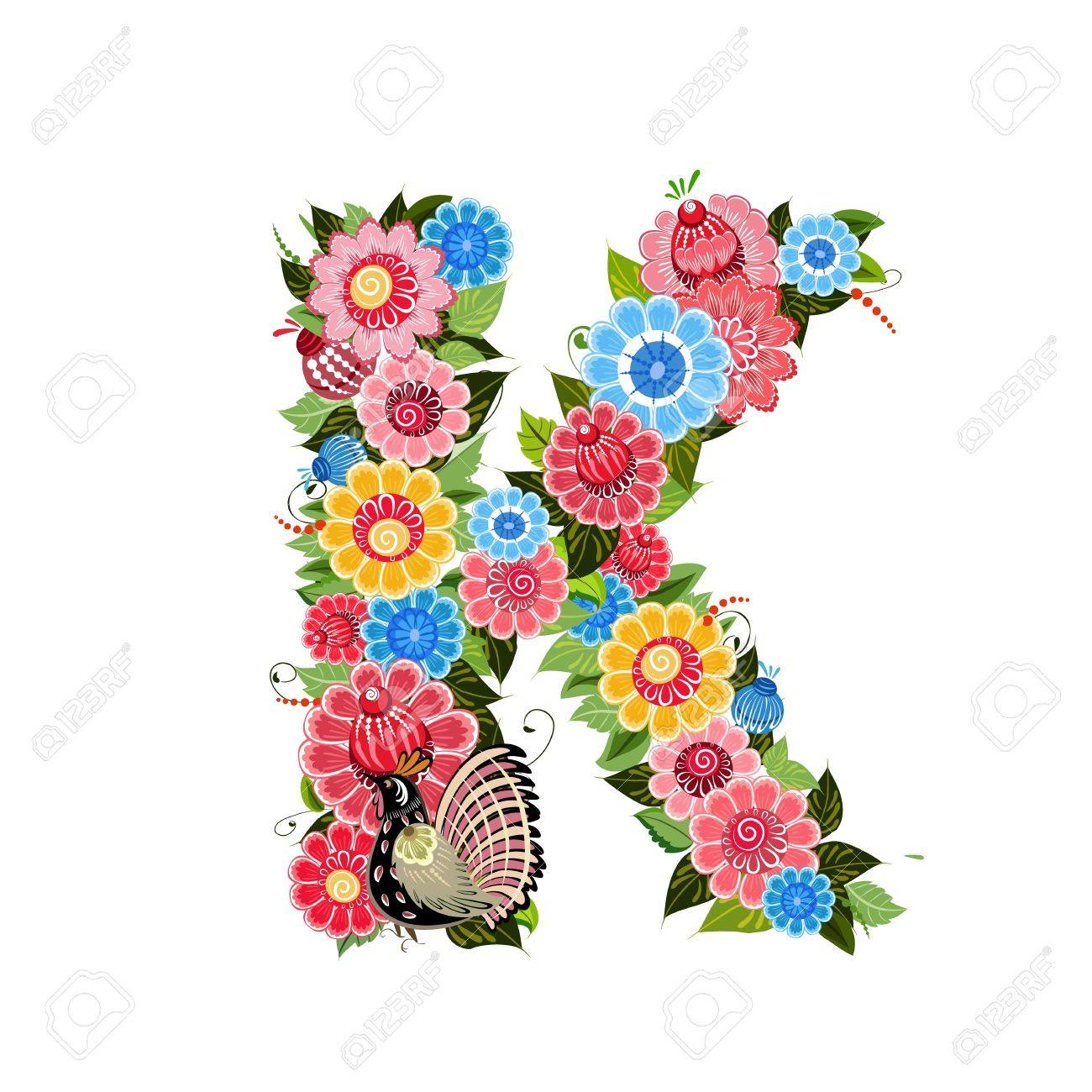 floral letter to the birds in the style khokhloma stock vector 17009685
