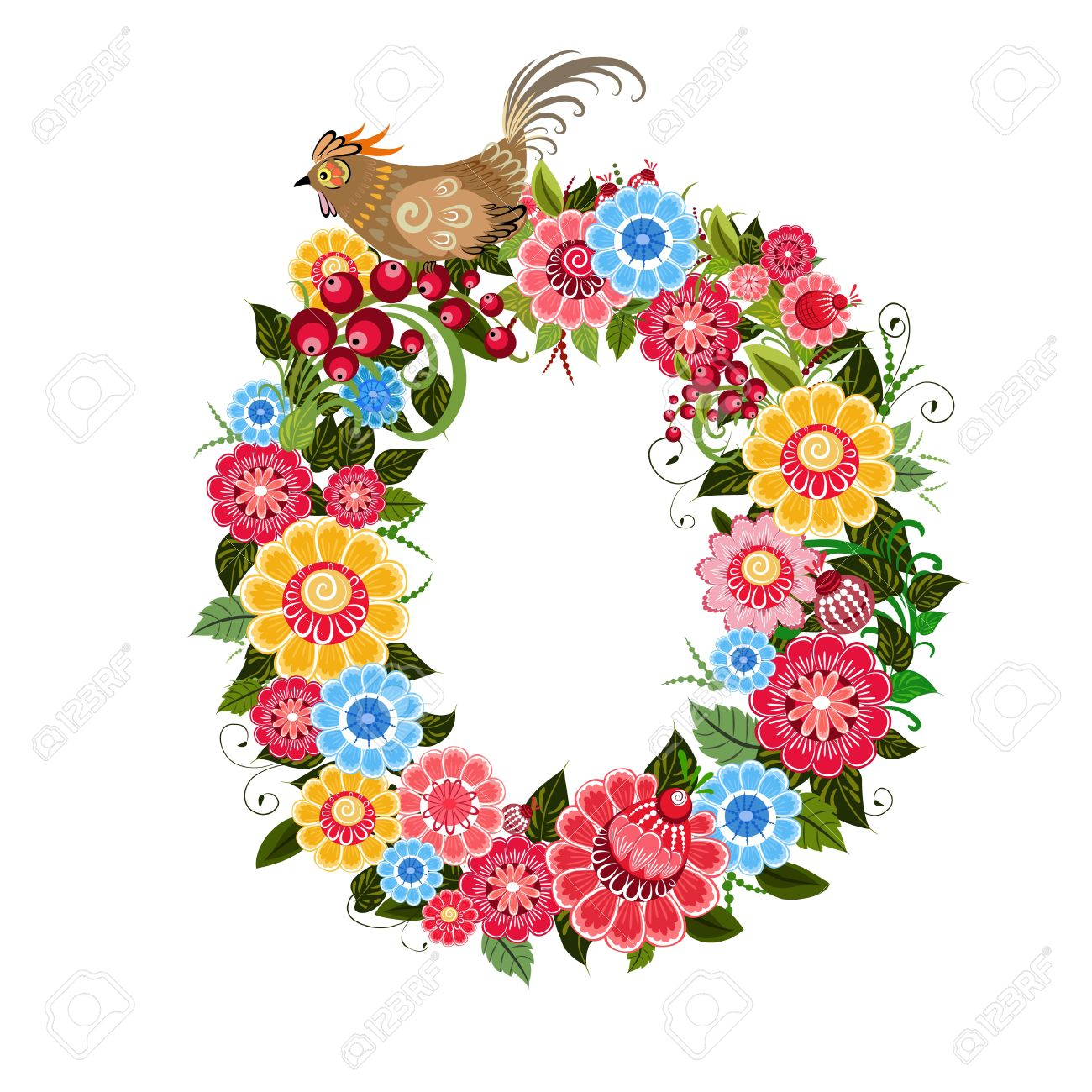 floral letter to the birds in the style khokhloma stock vector 17009727