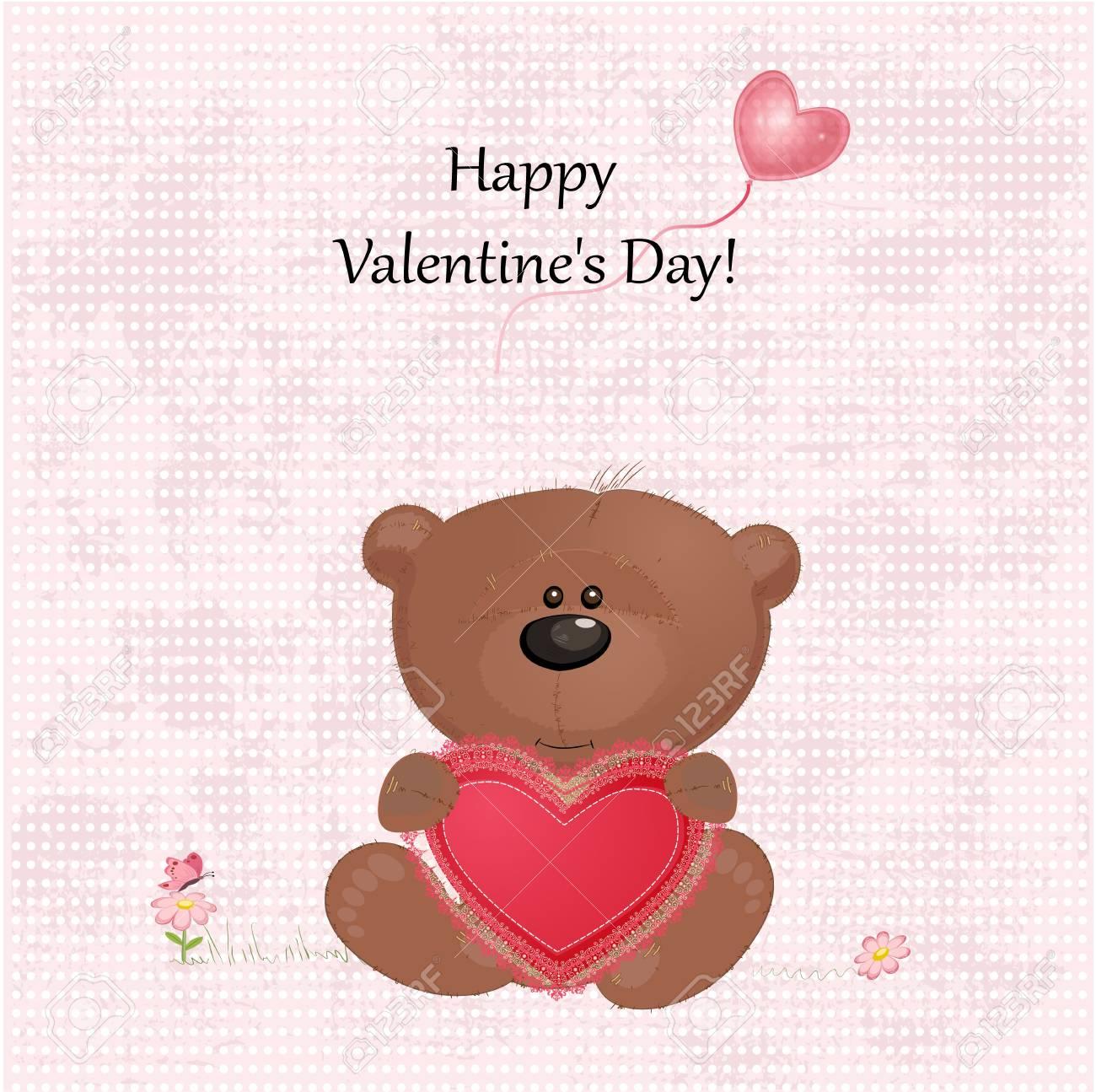 Teddy bear with valentine Stock Vector - 17336129