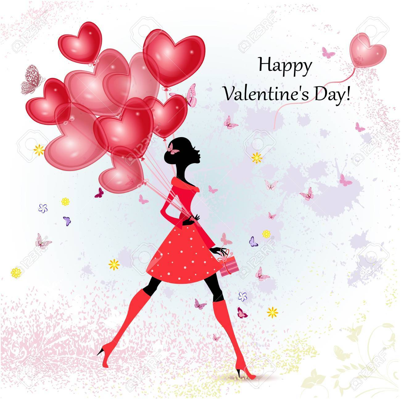 Card design girl with Valentine's Day Stock Vector - 17336145
