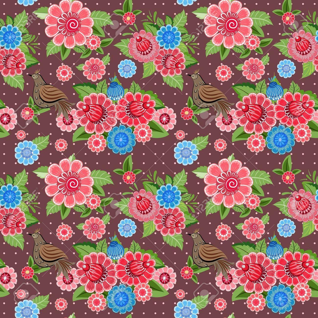 Flower texture with birds seamless Stock Vector - 17550928