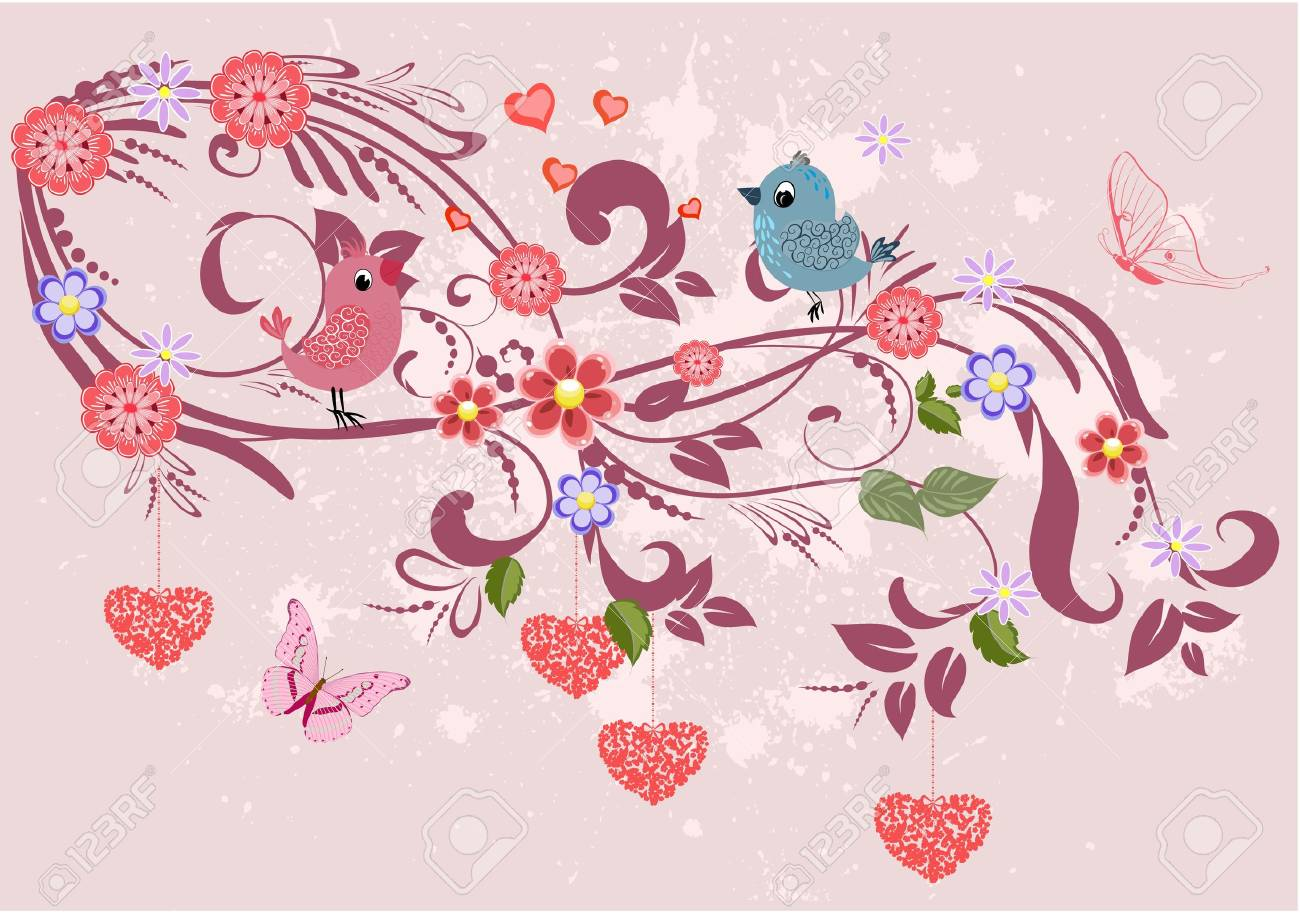 Floral ornament with hearts for your design Stock Vector - 17550921