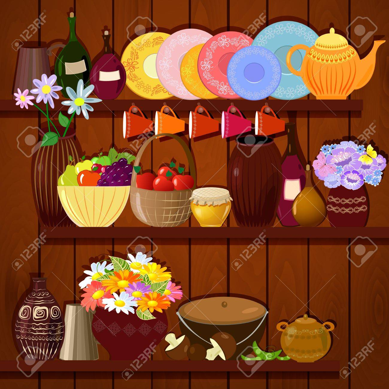 Shelves with dishes and food Stock Vector - 17680127