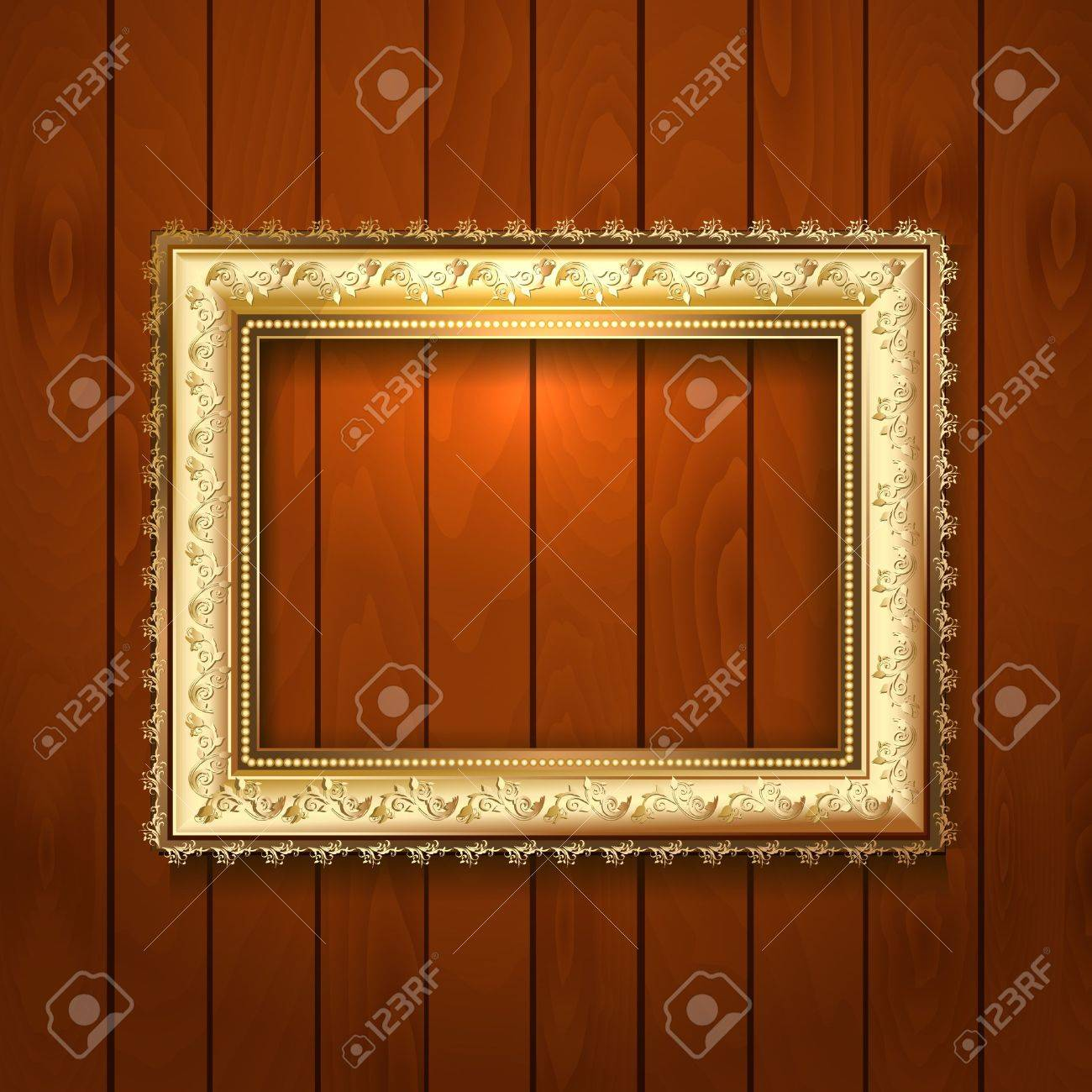 Vintage gold frame on a wooden texture Stock Vector - 17680125