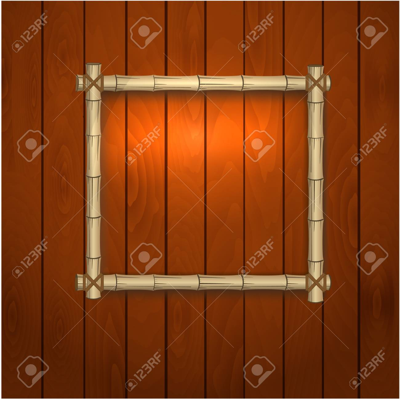 bamboo frame on a wooden wall Stock Vector - 17680115