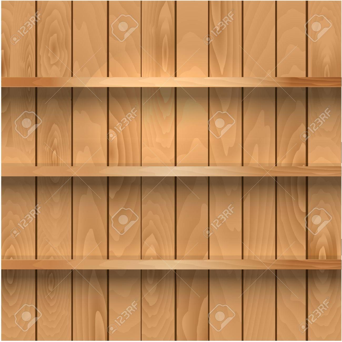 Realistic wooden shelves Stock Vector - 18755064