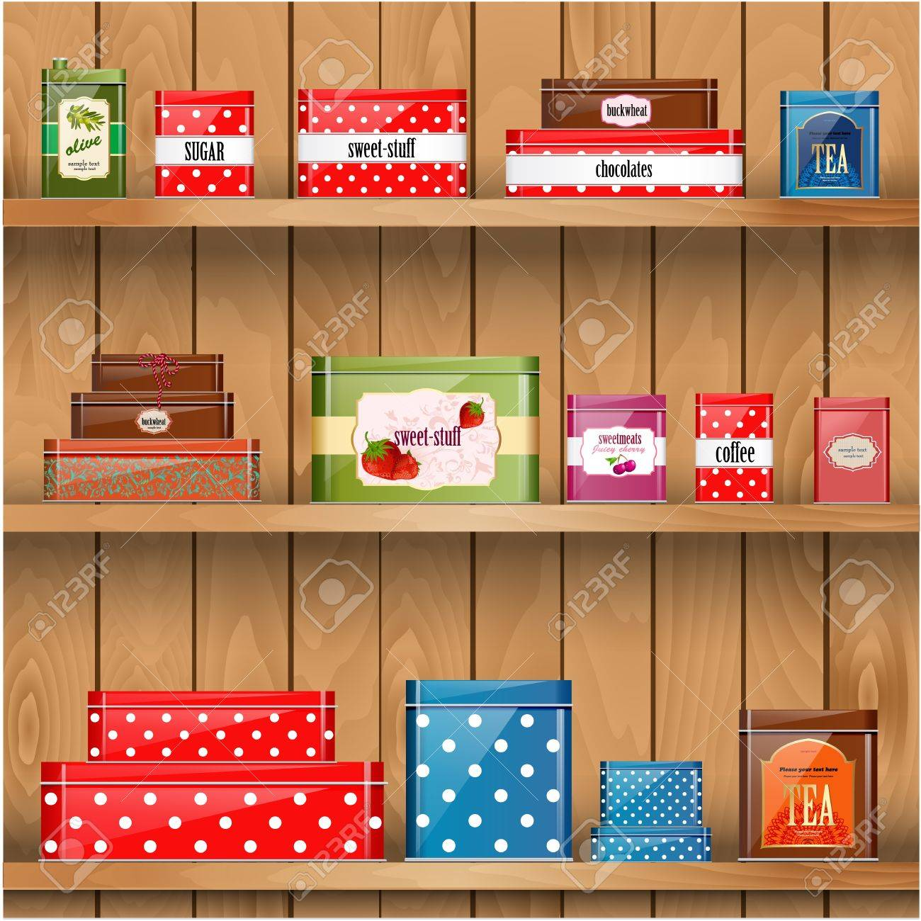 Interior wooden shelves free vector - Wooden Box Wooden Shelves With Metal Boxes Illustration