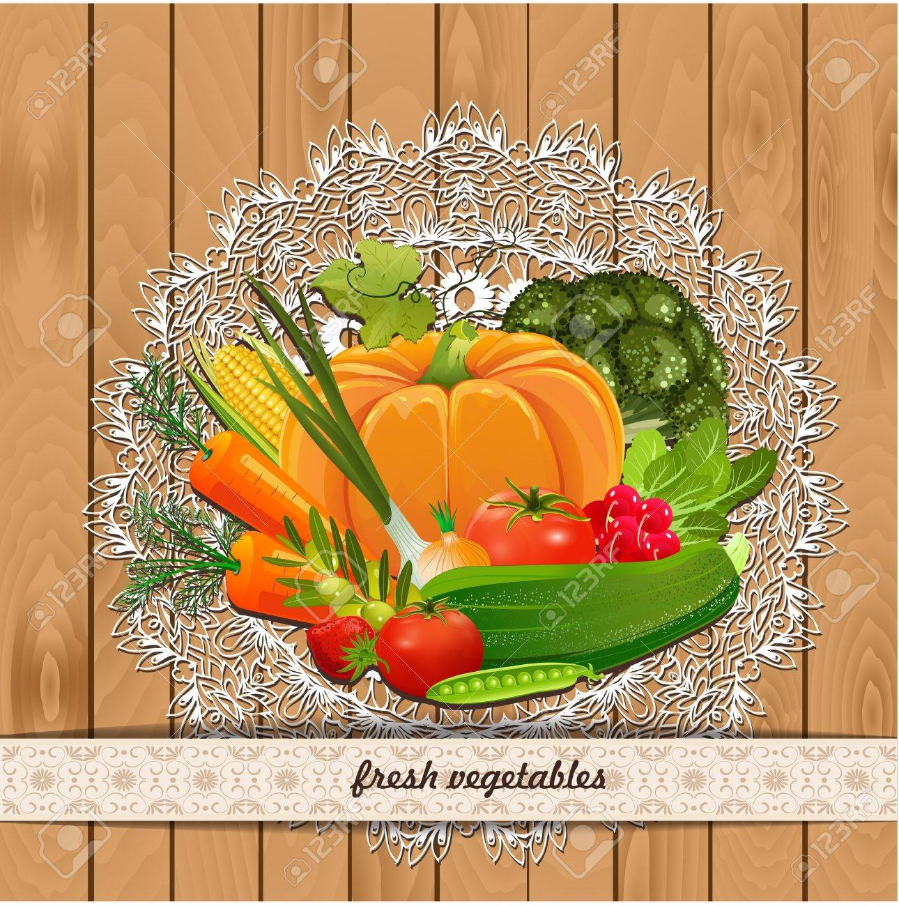 Fresh vegetables for your design. Vintage collection Stock Vector - 20274343