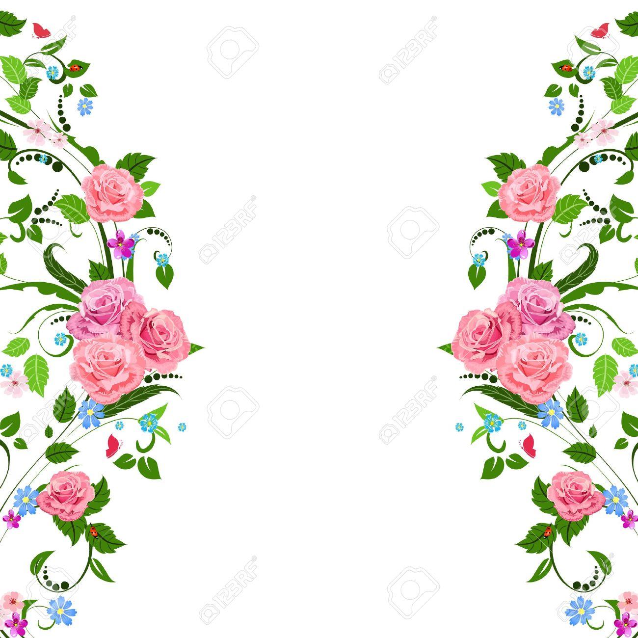 Vintage Flower Border Clip Art Floral