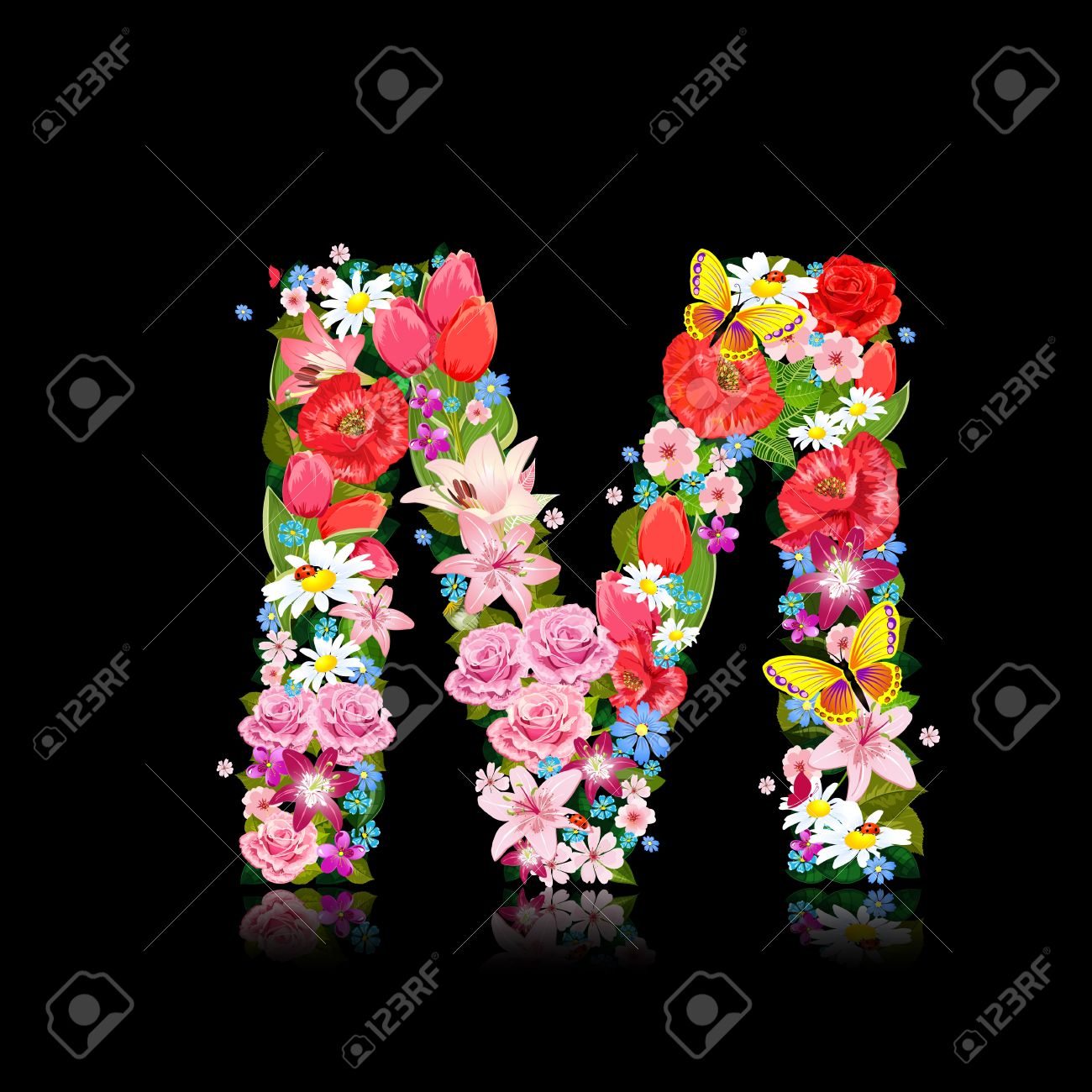 Romantic Letter Of Beautiful Flowers M Royalty Free Cliparts