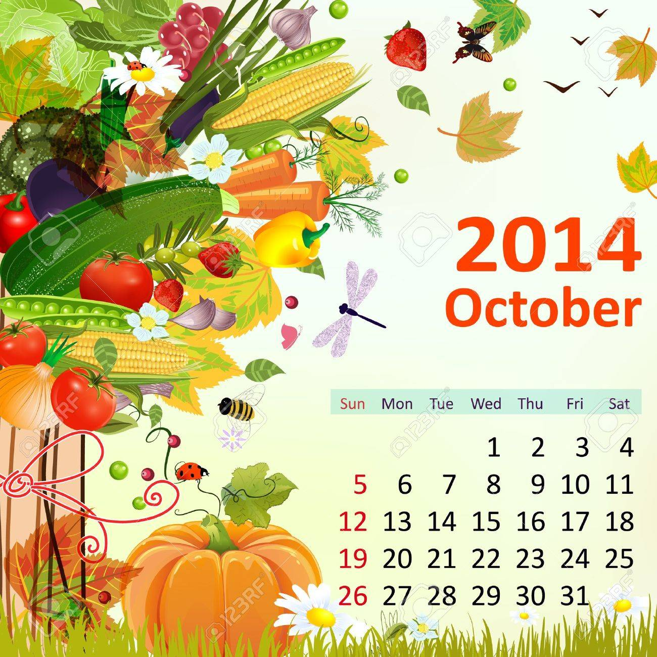 Calendar for 2014, October Stock Vector - 21521897