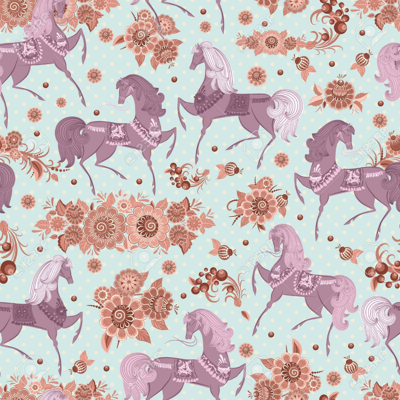 seamless texture with horses in flowers Stock Vector - 22467780