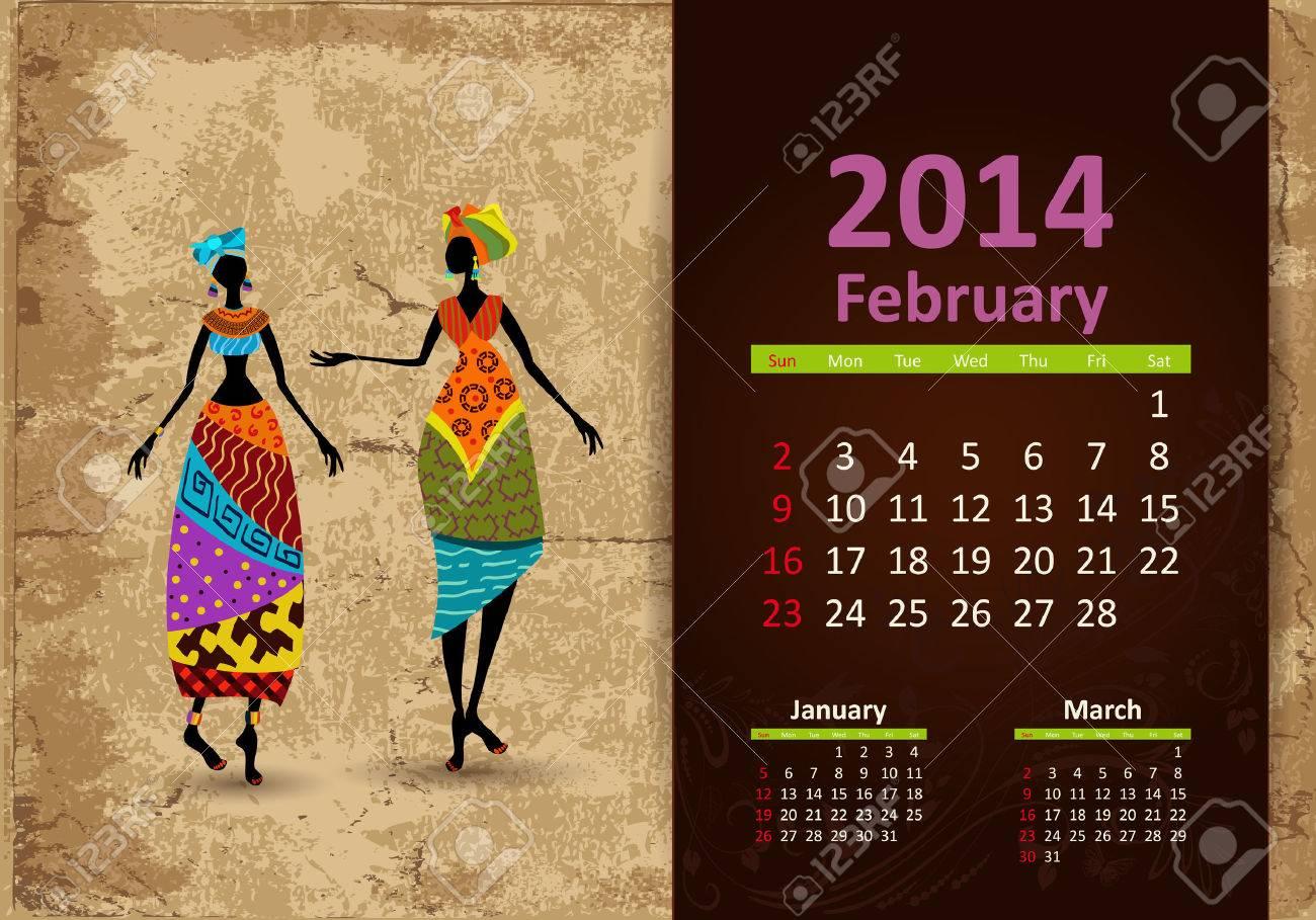 Ethnic Calendar 2014 February Stock Vector - 22467954
