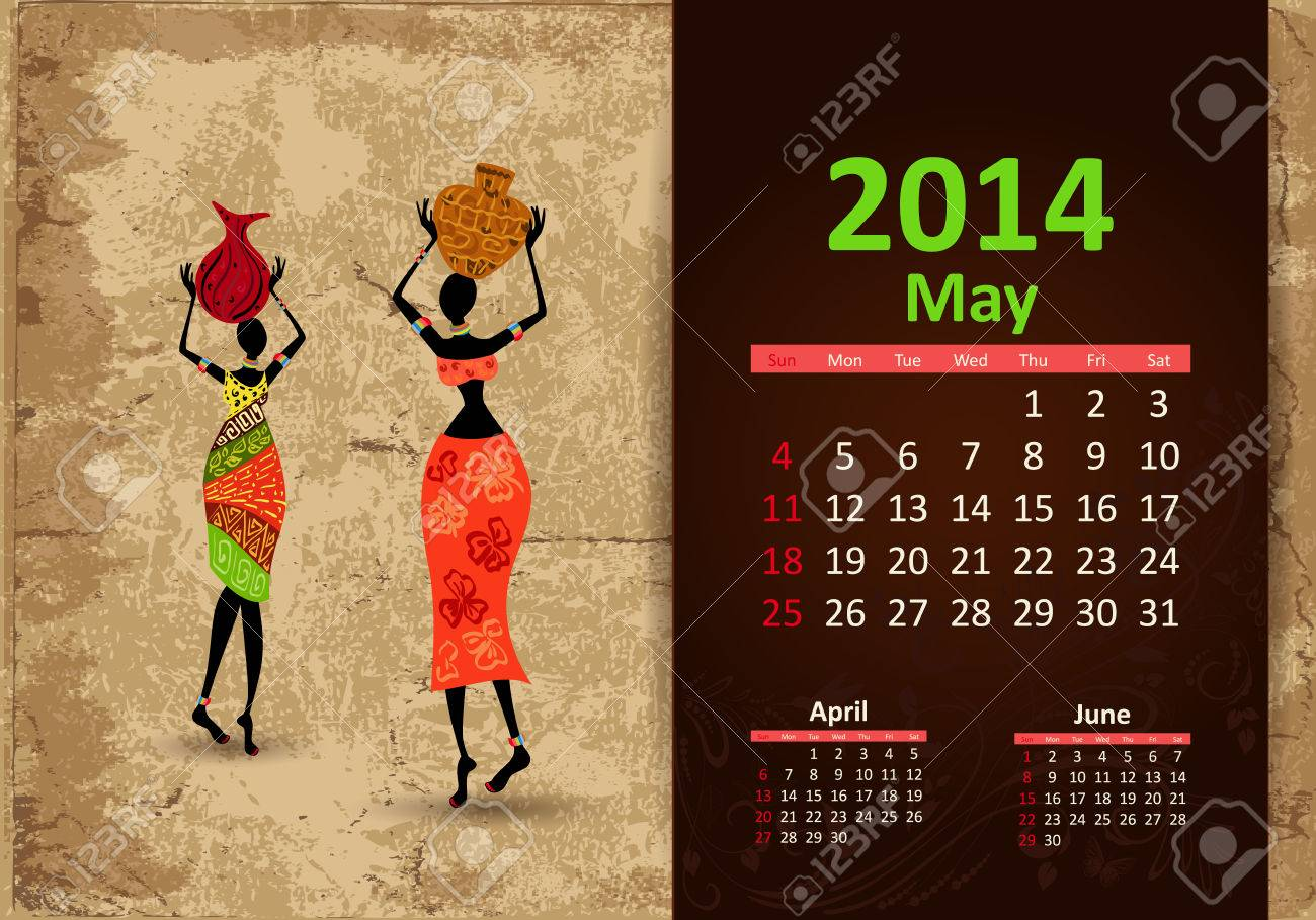 Ethnic Calendar 2014 may Stock Vector - 22467957
