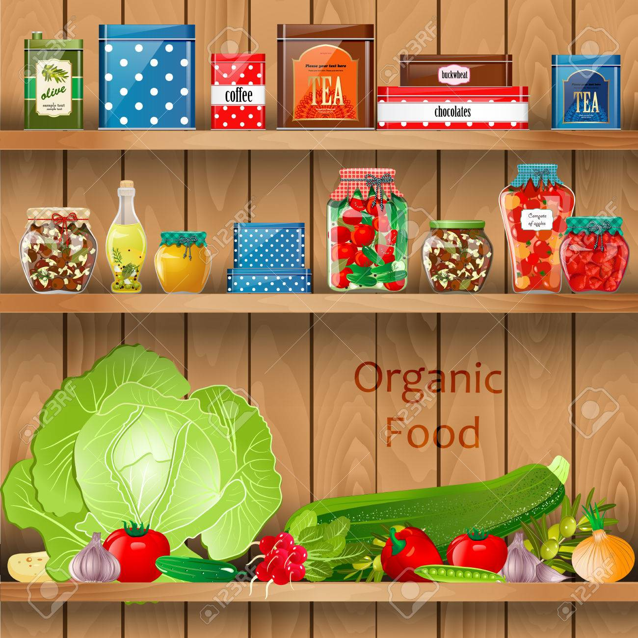 Delicious and healthy food on wooden shelves realistic - 24640936