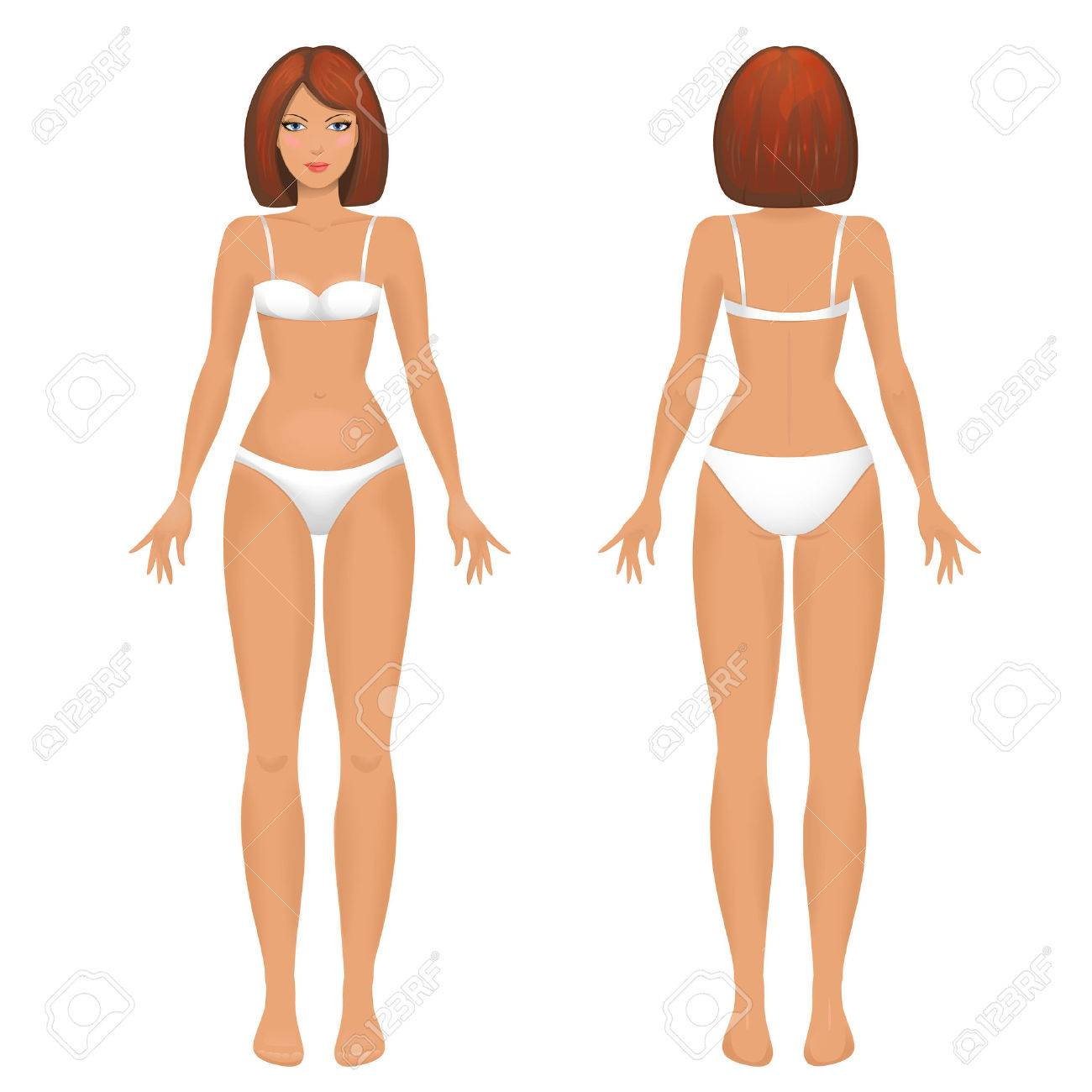 Female Body Template Front And Back Stock Vector