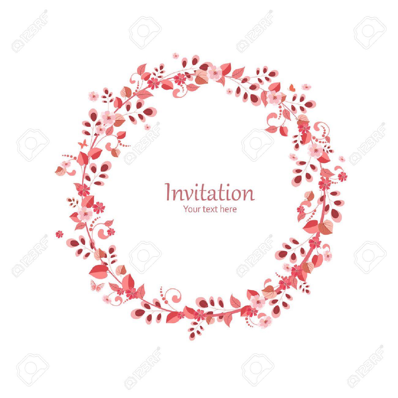 couronne de fleur carte dinvitation avec une couronne de fleurs